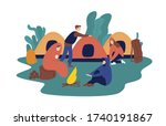Man and woman travelling together resting at summer camp vector flat illustration. Group of tourist people relaxing near campfire isolated on white background. Colorful travel person at camping tent - stock vector