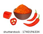 cayenne pepper isolated on...   Shutterstock .eps vector #1740196334