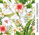 tropic summer flower hibiscus ... | Shutterstock .eps vector #1740225491