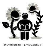 anthophobia  botanophobia. fear ... | Shutterstock .eps vector #1740230537