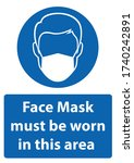 face mask must be worn sign.... | Shutterstock .eps vector #1740242891