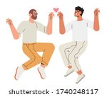 two happy jumping young men in... | Shutterstock .eps vector #1740248117