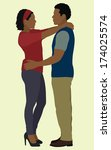 black couple holding each other | Shutterstock .eps vector #174025574