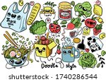 shopping time. doodle style...   Shutterstock .eps vector #1740286544
