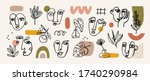 various faces  leaves and... | Shutterstock .eps vector #1740290984