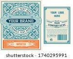 vintage gin label. vector... | Shutterstock .eps vector #1740295991