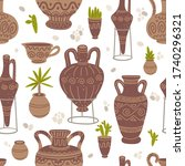 pottery and plants vector... | Shutterstock .eps vector #1740296321