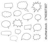 set of hand drawn speech bubbles | Shutterstock .eps vector #1740307307