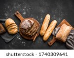 Fresh Bread On Black Backgroun...