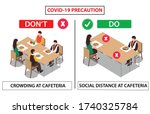 social distance at cafeteria... | Shutterstock .eps vector #1740325784