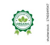 100  organic natural badge...   Shutterstock .eps vector #1740349547