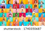 Small photo of Photo collage of group video call funky cheerful excited astonished surprised people youngsters children bloggers having fun bright facial expressions isolated over multicolored background