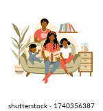 happy african american family... | Shutterstock .eps vector #1740356387