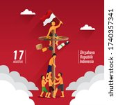 indonesia traditional games... | Shutterstock .eps vector #1740357341