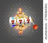 golden slot machine wins the... | Shutterstock .eps vector #1740364361