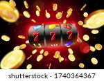 the black slot machine wins the ... | Shutterstock .eps vector #1740364367