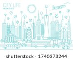 modern city panorama vector... | Shutterstock .eps vector #1740373244