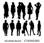 set of people silhouettes | Shutterstock .eps vector #174040385