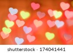 color bokeh on a red background ... | Shutterstock . vector #174041441