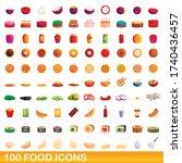 100 food icons set. cartoon... | Shutterstock .eps vector #1740436457