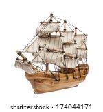 Sailing Ship Model Isolated On...