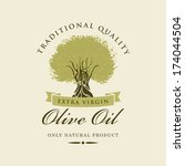 banner with olive tree and... | Shutterstock .eps vector #174044504