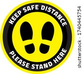 keep safe distance please stand ... | Shutterstock .eps vector #1740445754
