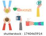 human hands with tea mug cup.... | Shutterstock .eps vector #1740465914