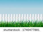 Seamless White Fence With Gree...