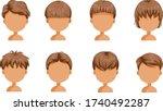 boy hair set. face of a little... | Shutterstock .eps vector #1740492287