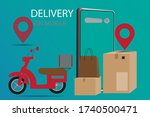 fast delivery. service by... | Shutterstock .eps vector #1740500471