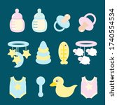 set of icons for a newborn baby ... | Shutterstock .eps vector #1740554534