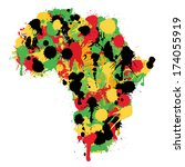 map of africa made up of paint... | Shutterstock .eps vector #174055919