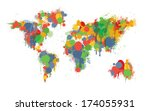 painterly world map done in a... | Shutterstock .eps vector #174055931