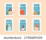 window people. happy... | Shutterstock .eps vector #1740609104