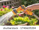 Hand Holding A Watering Hose...