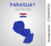 detailed map of paraguay with...   Shutterstock .eps vector #1740643424
