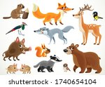big collection of wild forest...   Shutterstock .eps vector #1740654104