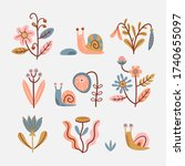 set of stylized flowers and...   Shutterstock .eps vector #1740655097