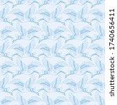 blue crane bird flying vector...   Shutterstock .eps vector #1740656411