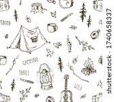 vector pattern of camping...   Shutterstock .eps vector #1740658337