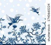 blue crane birds and tree...   Shutterstock .eps vector #1740660224