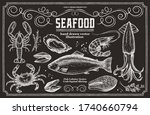 seafood on a chalk board. set... | Shutterstock .eps vector #1740660794