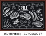 set of barbecue elements drawn... | Shutterstock .eps vector #1740660797
