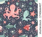 marine animals cute vector...   Shutterstock .eps vector #1740666407