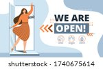 we are open.welcome back after... | Shutterstock .eps vector #1740675614