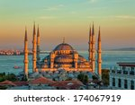 Blue Mosque In Glorius Sunset ...