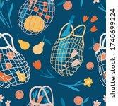net bag blue seamless pattern.... | Shutterstock .eps vector #1740699224