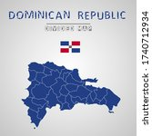 detailed map of dominican...   Shutterstock .eps vector #1740712934