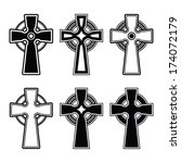 irish  scottish celtic cross... | Shutterstock .eps vector #174072179